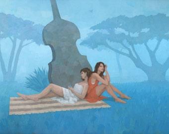 The Blue Garden, Original Figure Painting