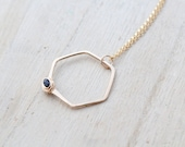Raw Diamond Necklace , Hexagon Geometric Rough Black Pendant in Gold Filled , Rose Gold , Sterling Silver , April Birthstone - Refraction