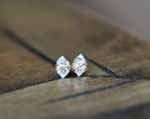 Herkimer Diamond Studs ,  Petite Quartz Gemstone Post Earrings in Gold , Rose Gold , Sterling Silver - As Seen On The Small Things Blog