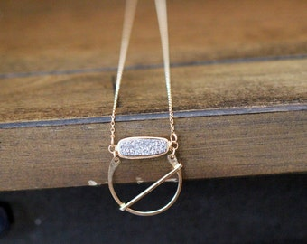 Druzy Pendant Necklace , Gold Halo Abstract Hoop Bar ,  Modern Layering Necklace - Orbit  ( As Seen On The Vampire Diaries )