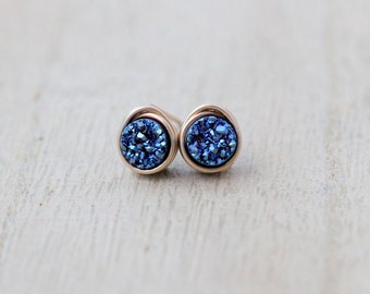 Druzy Studs ,  Cobalt Blue Post Earrings , Gold , Sterling Silver , Rose Gold , Minimalist Everyday Fashion - Micros