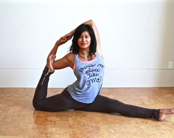 """Yoga Tank Top """"there's no place like OM"""". Racerback Tank. Om, Meditation, Namaste. Made To Order"""