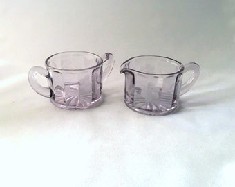 Vintage Etched Amethyst Glass Cream and Sugar Set