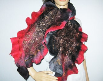 Felted Ruffled Felted scarf, Red wet felt scafr, womens Christmas red scarf, black and red felt scarf, OOAK wet felted neck warmer