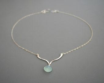 Sterling silver lotus necklace with sea foam chalcedony, Rachel Wilder Handmade Jewelry