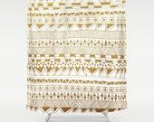 modern geometric design fabric shower curtain- gold and white geo- bathroon decor- modern home decor