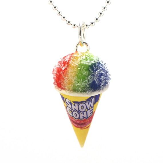 Scented Snow Cone Necklace Fruity Ice Frosty Tasty Treat Miniature Food Jewelry Polymer Clay Charm Kawaii Pendant