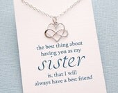 Sister Gift | Sister Necklace | Infinity Heart Necklace | Friendship Necklace | Infinity Charm Pendant | Sterling Silver | S05