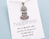 Buddha Pendant Necklace | Buddha Quote | Inspirational Jewelry | Inspirational Quote | Sitting Buddha | Yoga Jewelry | Silver of Gold | Y04