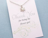 Flower Girl Gift | Flower Charm Necklace | Flower Pendant | Daisy Necklace | Bridesmaid Gift | Wedding Jewelry | Sterling Silver | B02