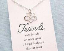 Best Friend  | Infinity Heart Necklace | Friendship Necklace | Infinity Charm Pendant | Best Friend Gift | Sterling Silver | F04