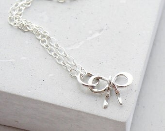 Tiny Bow Necklace | Delicate Everyday Jewelry | Charm Pendant Necklace | Bridesmaid Gift | Sterling Silver