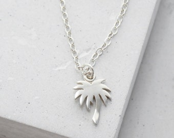 Palm Tree Necklace | Delicate Everyday Jewelry | Tiny Charm Pendant Necklace | Summer Fashion | Sterling Silver