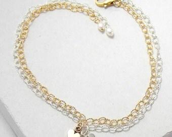Tiny Heart Bracelet | Layered Stacking Bracelet | Delicate Everyday Bracelet | Tiny Charm Bracelet | Valentine's Day Gift | Silver or Gold