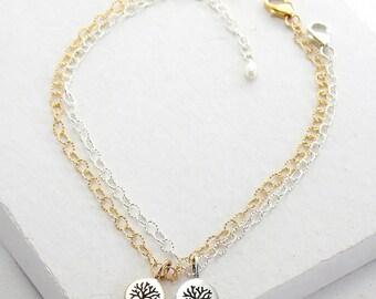 Tree of Life Bracelet | Layered Stacking Bracelet | Delicate Everyday Bracelet | Tiny Charm Bracelet | Silver or Gold