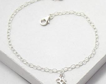 Ohm Charm Bracelet | Delicate Everyday Bracelet | Stacking Bracelet | Yoga Jewelry | Friendship Bracelet | Silver or Gold