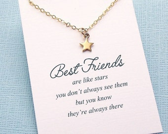 Best Friend Necklace | Tiny Star Necklace, Best Friend Gift, Friendship Necklace, Best Friend, Friendship, Bestfriend, BFF, Bestie | F08