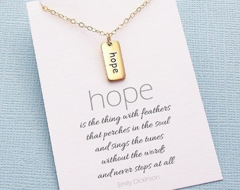 Inspirational Jewelry | Inspirational Quote | Hope Necklace | Hope Charm | Inspirational Gift | Cancer Awareness | Silver or Gold | W04
