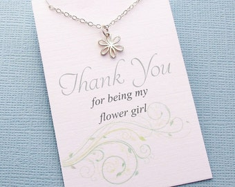 Flower Girl Gift | Flower Jewelry, Daisy Necklace, Flower Girl Necklace, Flower Girl Jewelry, Botanical Jewelry, Bridal Party Gifts | B02