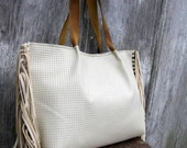 Fringe Tote Bag in White Sand Basket Weave Leather by Stacy Leigh