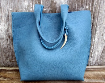 Celedon Blue Leather Tote Bag by Stacy Leigh