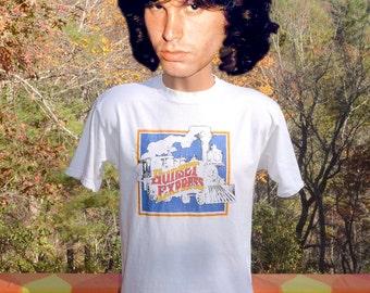 70s vintage t-shirt SUNSET EXPRESS railroad train rainbow tee Large Medium jc penney 80s