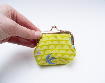 Coin purse, bright green bird fabric, cotton pouch