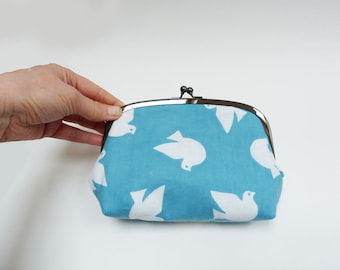 Cosmetic bag, blue and white dove fabric, cotton purse