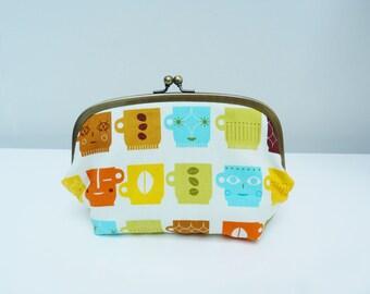 Cosmetic bag, multi colour cup fabric, cotton purse