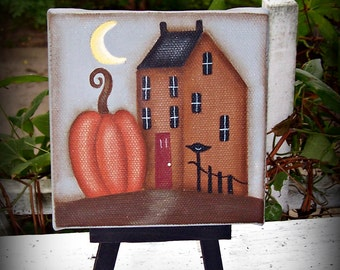 Primitive Fall Autumn Saltbox House Pumpkin 4 x 4 Wrapped Canvas