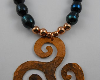Handmade  Hammer Textured Copper Triskel and Midnight blue pearl Necklace