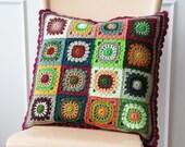 Crochet 'grannie square' cushion cover