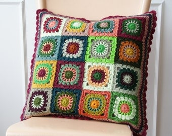 Crochet 'grannie square' cushion cover