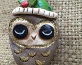 Owl Folk Art Ornament in Brown gold and green with holly and berry shimmer