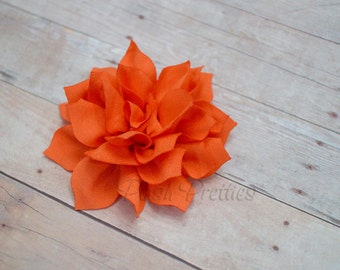 NEW Orange Mini Flower Hair Clip- Lotus Blossom - With or Without Rhinestone Center