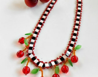 Cherry Necklace with Checks - Cherry Jewelry - Rockabilly Cherry Necklace - Rockabilly Jewelry - Cherry Checkerboard Necklace - Cherry Chick