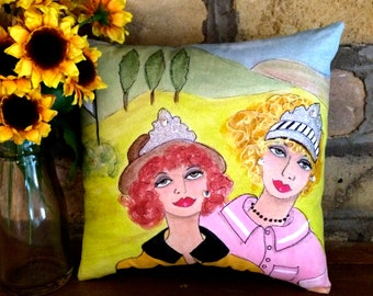 QUEENS of the GREENS PILLOW, Hand Painted, golf, golf girls, golf gift, fun golf quote, lime green, tiaras, rhinestones, golf buddy