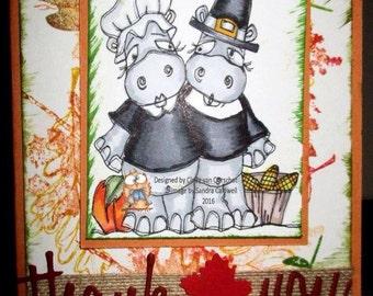 1094 Thankful Hippos Digi Stamp