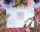 Polka dot square cute return address rubber stamps --3038