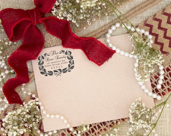 Self inking Holiday return address stamp, Holiday Christmas card custom rubber stamps --5746