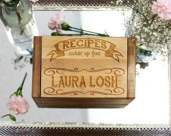 Personalized Recipe Box, Custom Recipe Box, Engraved Wood Recipe Box 4 x 6 --6805