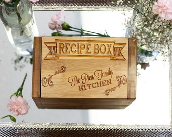 Personalized Recipe Box, Custom Recipe Box, Engraved Wood Recipe Box 4 x 6 --6806