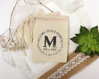 Custom Wedding Favor Bags, Muslin Bags, Personalized Wedding Favors, Custom Wedding Favors, Muslin Bag Wedding Favors 5 x 8 --64508-MB06-610