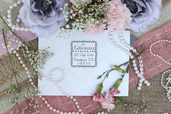 Self inking Cute Return Address Stamp with Decorative Border, Custom Return Address --2401