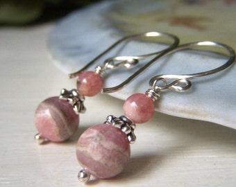 Pink Rhodochrosite Earrings Sterling Silver, Pink Banded Rhodocrosite Gemstone Round Dangle, Petite Gemstone Earrings 7mm