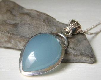Aqua Chalcedony Necklace on Sterling Silver, Bezel Set Pendant, Aqua Blue Gemstone Pendant Necklace, Blue Chalcedony Necklace