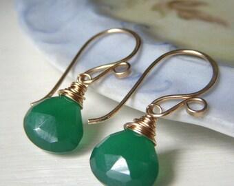 Green Onyx Earrings Gold Filled, Teardrop Wirewrapped Emerald Gemstone Dangle, Minimalist Short Green Earrings Goldfilled Earwire