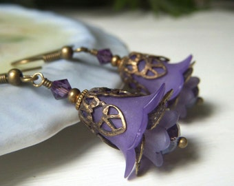 Purple Floral Earrings, Lucite Floral Earrings Brass with Swarovski, Vintage Inspired Romantic Lavender Purple Flower Dangle