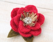 Recycled Wool Flower Brooch in Red Gold and Silver