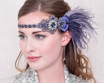Twighlight Ostrich Feather and Rhinestone Flapper Headband Slate and Silver